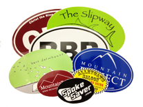 assortment of custom euro oval stickers made by Websticker