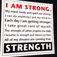 Screen printed sticker about strength printed by Websticker for Total Living