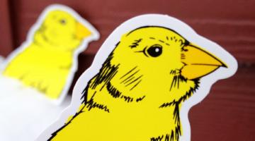 die cut sticker of bird printed by websticker