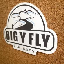 Custom die cut sticker on white vinyl made for Big Y Fly by Websticker